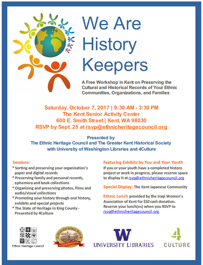 We Are History Keepers - A Free Workshop in Kent on Preserving the Cultural and Historical Records of Your Ethnic Communities, Organizations, and Families