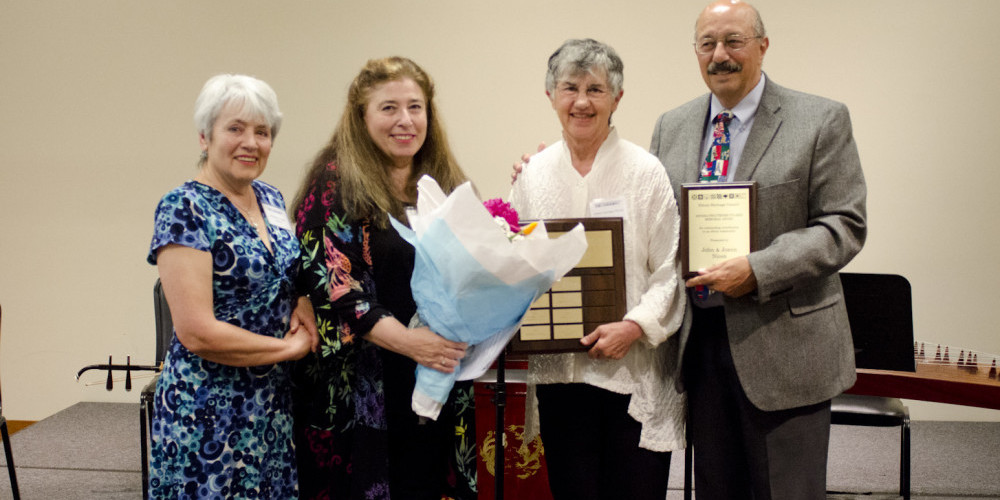 Presenters Stephanie Pulakis Stafford and Joanna Pulakis with 2015 winners Joann and John Nicon, respectively.